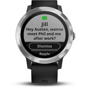 Garmin vívoactive 3 GPS Sport Watch With black silicone strap edelstahl